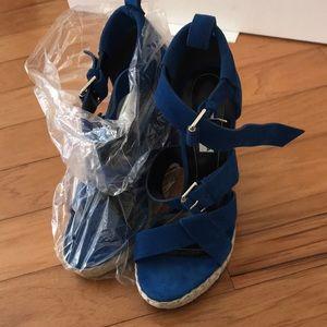 NWB Balenciaga Wedge Sandal Blue Size 38